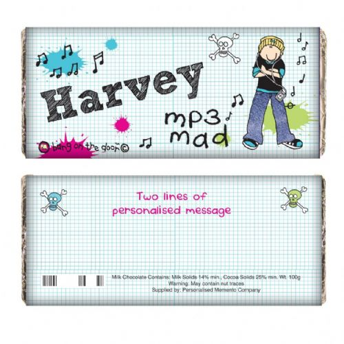Personalised Bang on the Door MP3 Mad Chocolate Bar